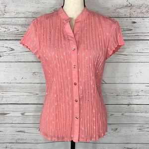 East 5th Top Pink Eyelet Crinkle Cap Sleeve Floral
